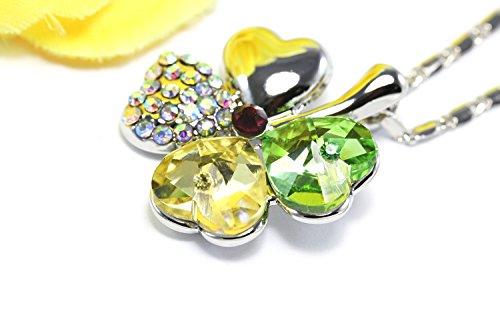 Collar colgante de trébol de cuatro hojas de cristal austriaco Lucky de KATGI (AMARILLO Y VERDE)