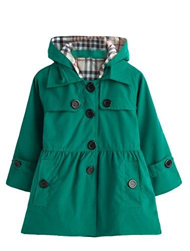 Coat Girls Hooded (Mallimoda Girl's Hooded Trench Coat Jacket Dress Windbreaker Outwear Dark Green 5-6 Years)