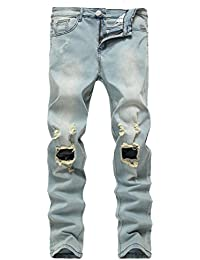 Men's Light Blue Ripped Skinny Distressed Destroyed Slim Jeans Pants with Holes