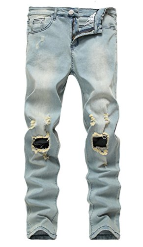 Men's Light Blue Ripped Skinny Distressed Destroyed Slim Jeans Pants with Holes 34W×32L (Skinny Jeans Fashion Men)