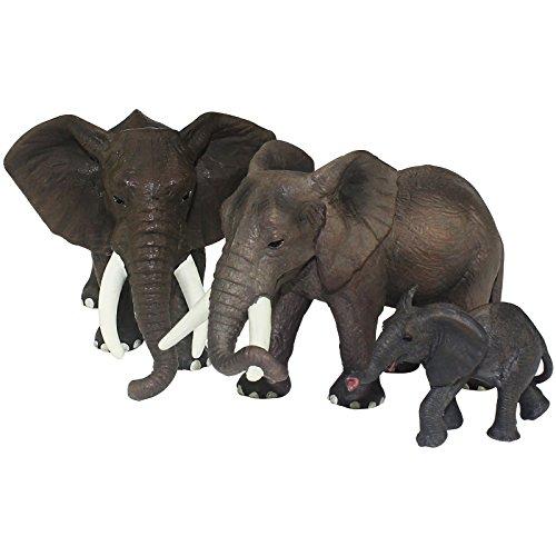 FUNSHOWCASE African Jungle Animals Toy Elephants Figure Realistic Plastic Figurine Playset Lot 3-Piece