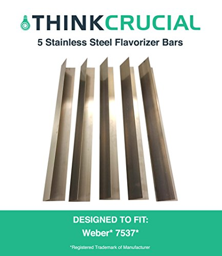 """5 Long Lasting Stainless Steel Flavorizer Bars, Fits Weber Grills, Part # 7537, 22.5"""" x 2.25"""" x 2.375"""", by Think Crucial"""