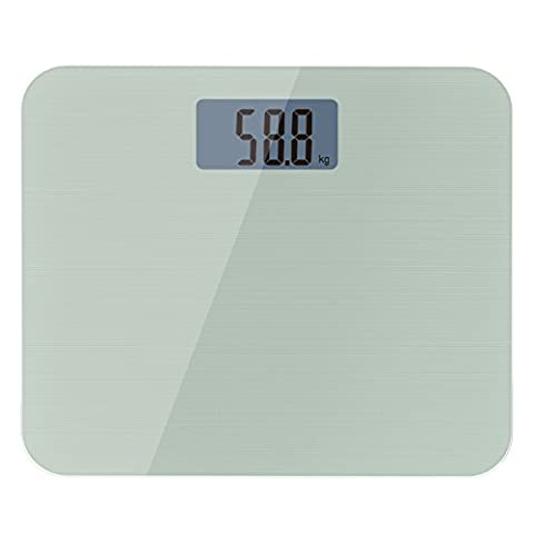 MoKo Wide Tempered Glass Platform Digital Body Weight Bathroom Scale with Easy-to Read Backlit LCD, Premium High Precision Accuracy, Holds up to 440lb/200kg, SILVER