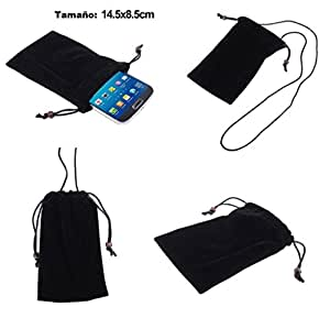 DFV mobile - Case Cover Soft Cloth Flannel Carry Bag with Chain and Loop Closure for => Mediacom PhonePad Duo X510U > Black