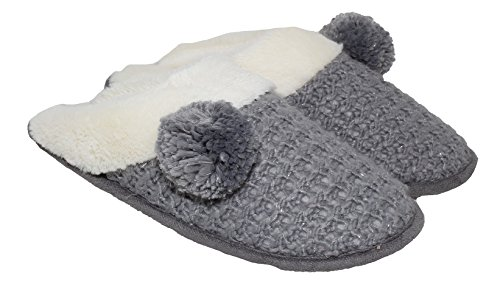 Adrienne Vittadini Women's Slippers Comfort Padded Memory Foam Sherpa House Shoe w Slip-Resistant Rubber Sole| Indoor/Outdoor (Sherpa House)