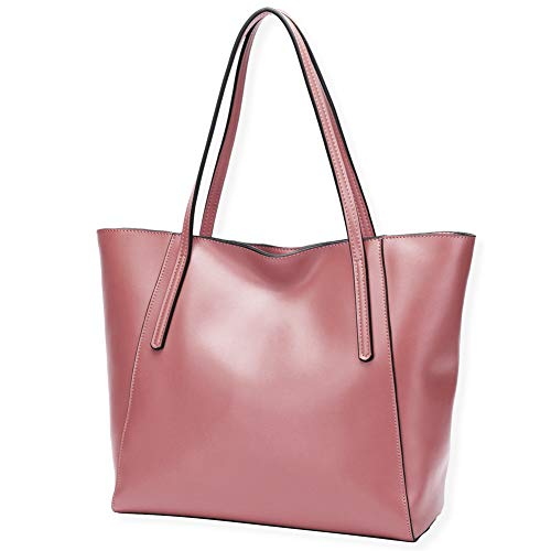 CHERRY CHICK Women's Cow Leather Everyday Tote Bag Large Purses and Shoulder Bag (Cherry Blossom Pink-9816) (Best Everyday Tote Bag)