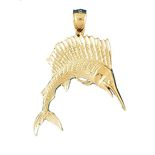 14k Yellow Gold Sailfish Pendant (24 x 21 mm) by Eaton Creek Collection