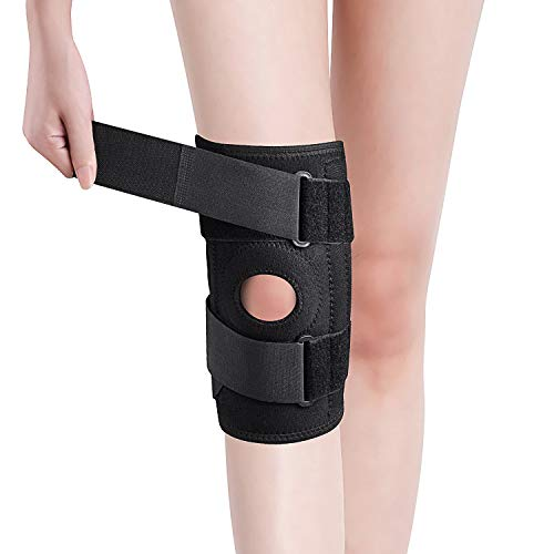 Knee Brace, Relieves and Supports Meniscus Tear, Arthritis, PCL, ACL, LCL, MCL, Tendinitis Pain, Running, Sports Play, Open Patella Dual Stabilizers, Neoprene Brace, Non-Slip Straps (One Size, Black)