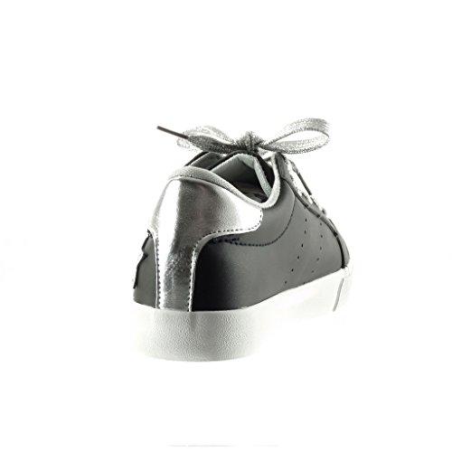 Angkorly - Scarpe da Moda Sneaker donna stella ricamo Tacco tacco piatto 2.5 CM - Nero