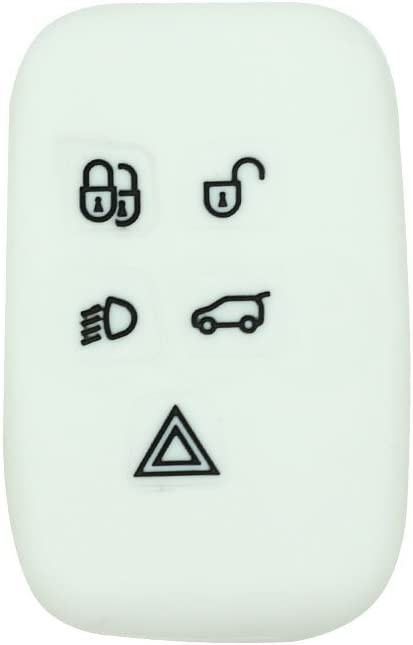 SEGADEN Silicone Cover Protector Case Skin Jacket fit for LAND ROVER 5 Button Smart Remote Key Fob CV9701 White
