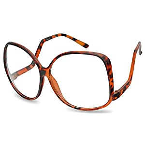 Vintage Inspired Round Super Oversized Clear Lens Fashion Circle Eye Glasses (Tortoise (62mm), Clear)