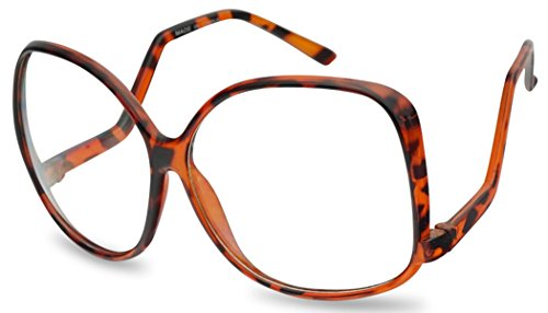 Vintage Inspired Round Super Oversized Clear Lens Fashion Circle Eye Glasses (Tortoise (62mm), ()