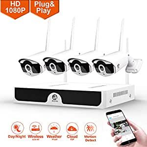 1080P Wireless Security Camera System,JOOAN 4×2MP Full HD Home Surveillance Outdoor WiFi CCTV Cameras with 4 Channel H.265 NVR & Motion Detection & Email Alarm&Super Night Vision (2019New)
