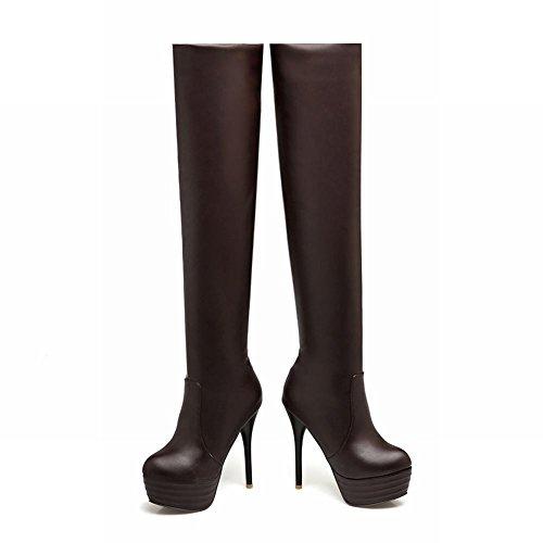 Mee Shoes Damen Stiletto Reißverschluss langschaft Stiefel Braun