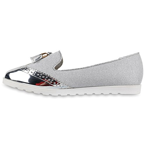 Stiefelparadies Damen Ballerinas Lack Metallic Profilsohle Slipper Flats  Schuhe Flandell Silber Lack Quasten ...
