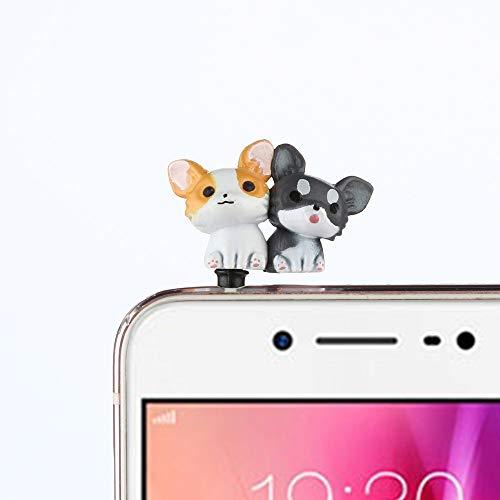 Gotian 3.5mm Cute Puppy Anti Dust Earphone Jack Plug Stopper Ear Cap for Cellphone (F) ()