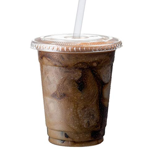 (Clear Plastic Cups with Lids | 12 oz, 100 Pack | PET Cold Smoothie Cups | Iced Coffee Cups | Disposable Cups with Lids | To Go Cups)