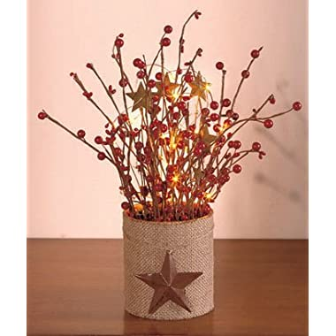 Collections Etc Lighted Country Berry Branches Centerpiece