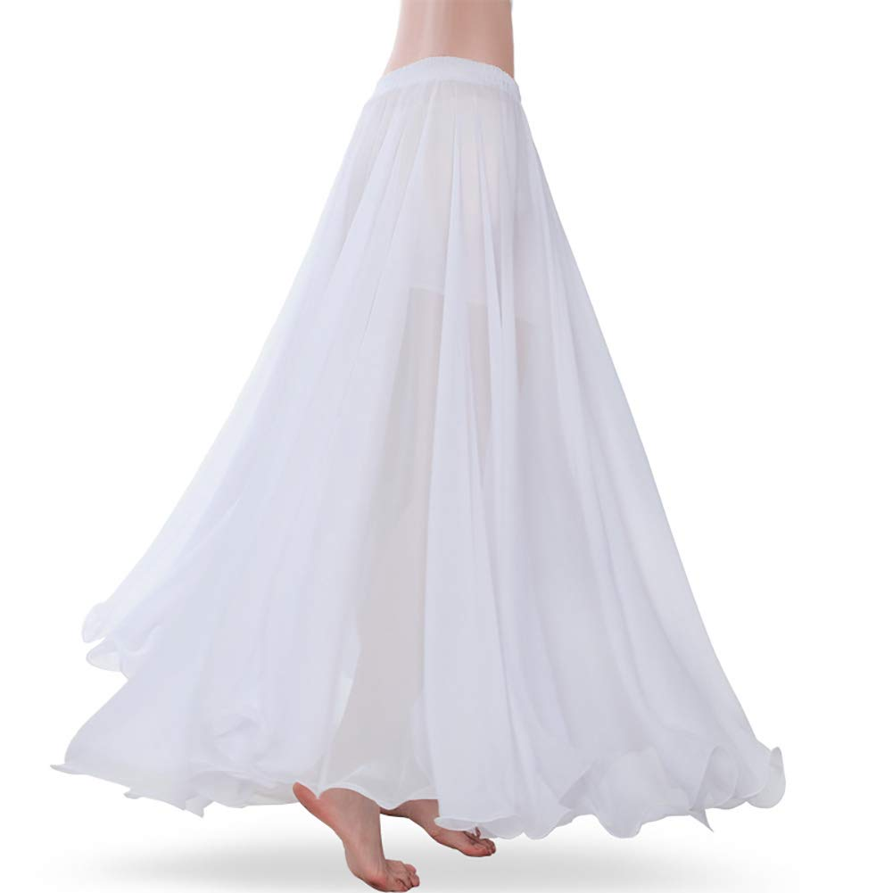 ROYAL SMEELA Women's Belly Dance Skirt ATS Voile Maxi Full Tribal Bellydance Chiffon Skirt, White, One Size by ROYAL SMEELA