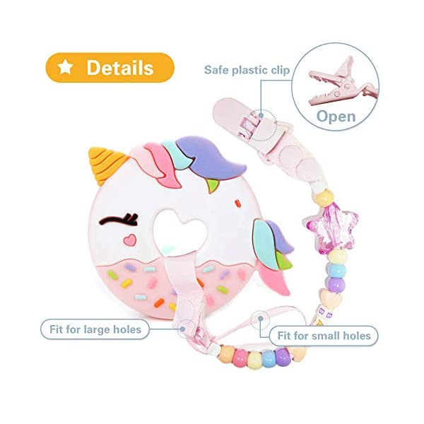 A.Voice Unicorn Donut Cookies Silicone Teether Pacifier Clip Set Non Toxic(Pink) 5