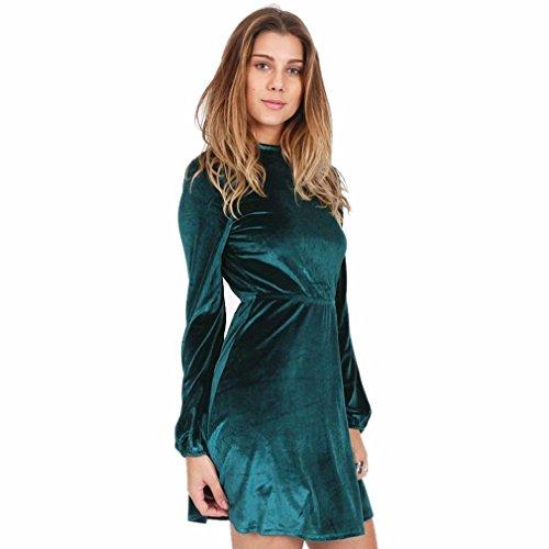 Robe Femme, Fulltime® Femmes manches longues velours robe Halter robe dos nu