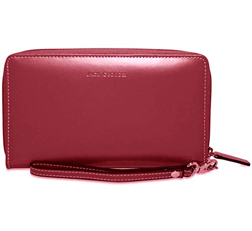 Jack Georges Womens [Personalized Initials Embossing] Milano Large Zip-Around Clutch Wristlet Wallet in Cherry