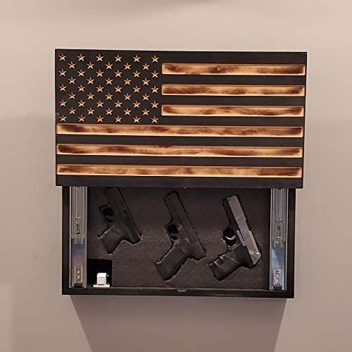 San Tan Woodworks Sliding Carved Burnt Wood Concealment American Flag. American Concealment Cabinet for The Home (Burnt)