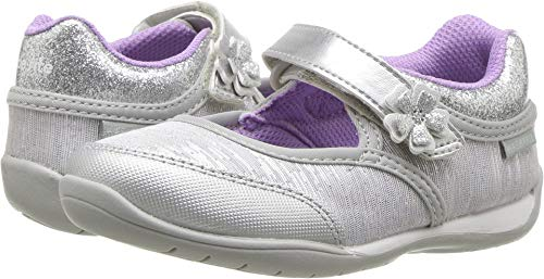 Stride Rite Made to Play Cassidy Girl's Machine Washable Athletic Sneaker, Silver, 7.5 M US Toddler