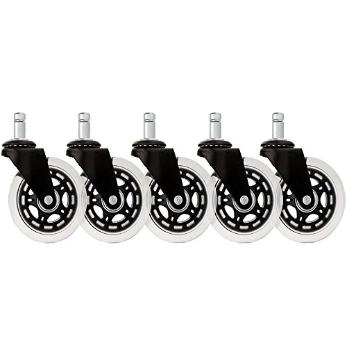 Signstek Set of 5 3 Inch Office Chair Wheels Replacement, Rubber Caster Wheels for your Home's or Office's Furniture