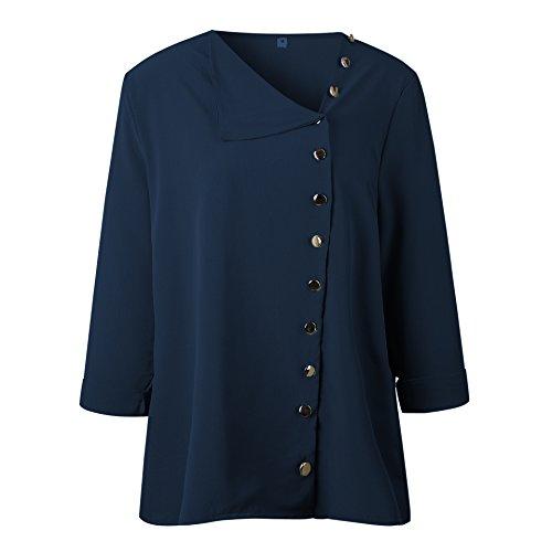 Shirts Chemisiers Printemps Femmes Tops Fonc Bouton Fashion Chemises Hauts Tee Irregulier Blouse Longues Manches et Automne Bleu HHOfxqTwg