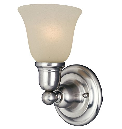 Bel Air Vanity Light - Maxim 11086SVSN Bel Air 1-Light Wall Sconce Bath Vanity, Satin Nickel Finish, Soft Vanilla Glass, MB Incandescent Bulb , 100W Max., Dry Safety Rating, Standard Dimmable, Glass Shade Material, 2300 Rated Lumens