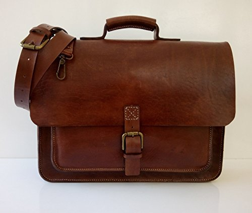15 inch Leather Briefcase Genuine Leather Laptop Bag for Men Brown Leather Satchel Large by EleganceAccessories