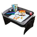 Kids E-Z Travel Lap Desk Tray by Modfamily - Universal Fit for Car Seat, Stroller & Airplane - Organized Access to Drawing, Snacks, Activities. Includes Printable Travel Games (Black/Gray)
