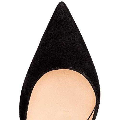 Cm 10 Ouvert Chaussures Aiguille Suède Femmes 12 Talon Hauts Noir Slip 6 5cm bout Bout Bal De Caitlin 10cm Pompes Pointu Escarpinstalons On Pan 7qUOAO