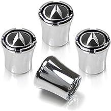Acura Silver Logo Chrome Tire Stem Valve Caps