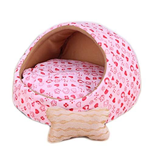 Nido de mascotas Figura de Amor Rosa extraíble y Lavable Perros pequeños y medianos Perla de Verano Cuatro Estaciones Cama...