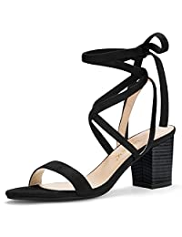Allegra K Women's Open Toe Stacked Mid Heel Lace Up Sandals
