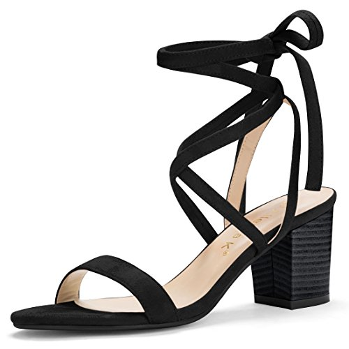 Allegra K Women's Open Toe Stacked Mid Heel Lace Up Sandals (Size US 8) Black (Womens Strappy Black Heels)