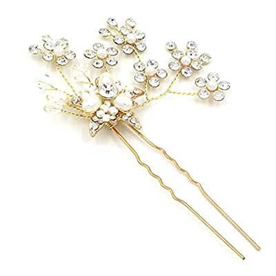 M Bridal Women's Crystals Pearls Flower Gold Twigs Wedding and Party Hair Pins Clip O914
