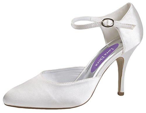 Lora Dora Womens High Heels Satin Lace Flower Bridal Wedding Peep Toe Comfort Shoes Ladies Ivory Sandals Size UK 3-8 White - Ankle Buckle tLlXZoD8I