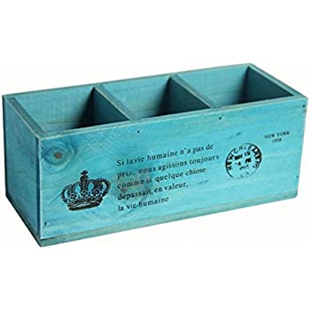 3 Compartment Vintage Wood Desktop Office Supply Caddy / Pen Pencil Holder  / TV Remote Control Holder/ Desk Organizer Blue