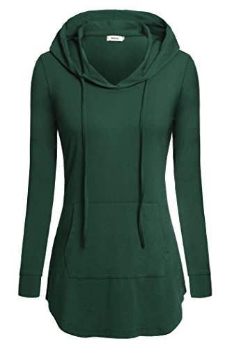 BEPEI Women Shirts, Hoody Sweatshirt Long Sleeves Business Office Blouse Green XL