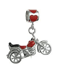 Queenberry Sterling Silver Motorbike Enamel European Style Dangle Bead Charm