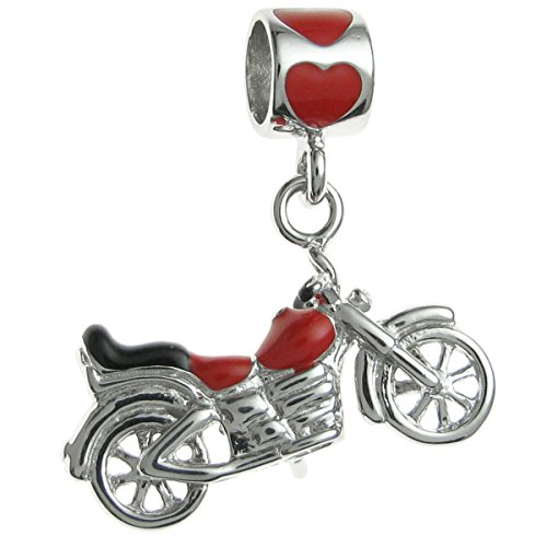 Rhodium-plated Sterling Silver Motorbike Enamel European Style Dangle Bead Charm