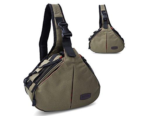 Camera Shoulder Bag DSLR SLR Travel Outdoor Portable Backpack Waterproof and Sling Bag Knapsack for Canon, Nikon, Sony, Olympus, Samsung, Panasonic, Pentax Camera and Camera Accessories (Army (Slr Camera Sling)