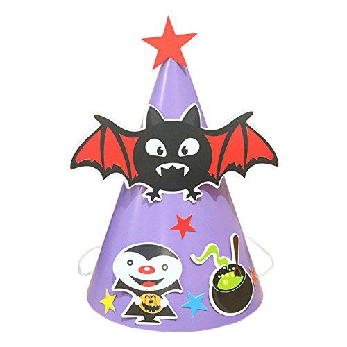 Yonger Halloween Paper Bat Hat Ghost Festival Conical Hat Evil Child Cap Hats -
