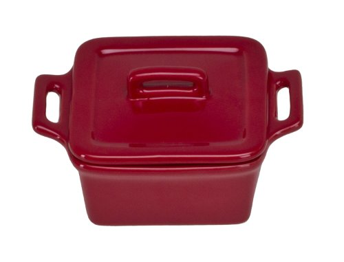Baker Stoneware Covered Square (Omniware 1172025 Square Mini Bakers with Lids, Set of 4, Red)