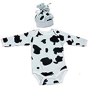 TenTeeTo Baby Bodysuit-Hat Set For Newborn-Infant Cow Print Black-White (0-3 Months)