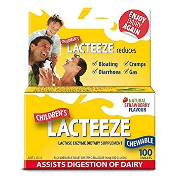 2 Pack: Lacteeze Childrens 200 chewable tablets Strawberry