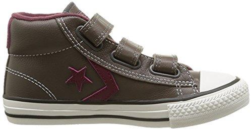 Converse Star Player 3V Leather Mid - Zapatillas de Deporte de cuero Infantil gris - Gris (Anthracite/Bdx)